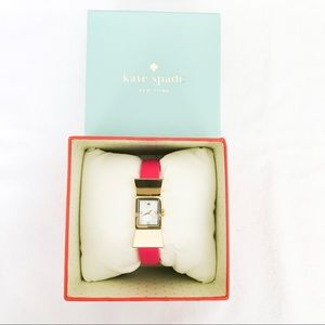 Kate Spade Bow Watch With Bright Pink Leather Band